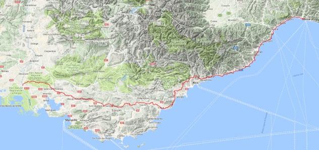 Via della Costa Genua - Menton / Via Aurelia Menton - Arles