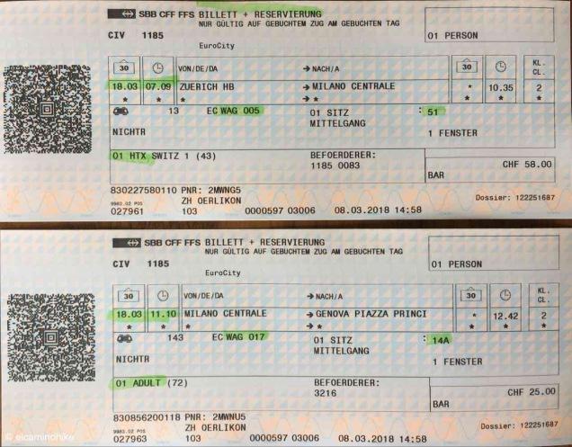 Bahntickets nach Genua